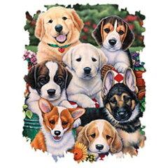 集合ドッグ・パピー柄の、たっぷりサイズ、厚手のトートバッグ(大)です。(集合16)ドッグ/犬/イヌ/ゴールデン/ビーグル/ラブ/セントバーナード/ジャーマン/コーギー/キャバリア[トラストワンポイント]