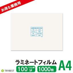 ラミネートフィルム A4 1000枚 100ミクロン 216×303mm ラミネーターフィルム パウチフィルム 大容量