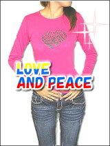 レビューNO.1記念目玉!!【LOVE&PEACE】レディススリムフィットデザインTシャツ