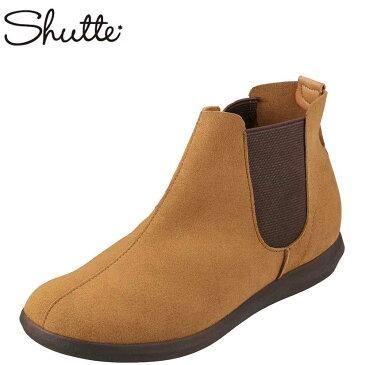 シュッテ Shutte ブーツ ST-3007 レディース 靴 靴 シューズ 2E相当 サイドゴアブーツ ショートブーツ ぺたんこ フラット 日本製 国産 大きいサイズ対応 25.5cm キャメル SP
