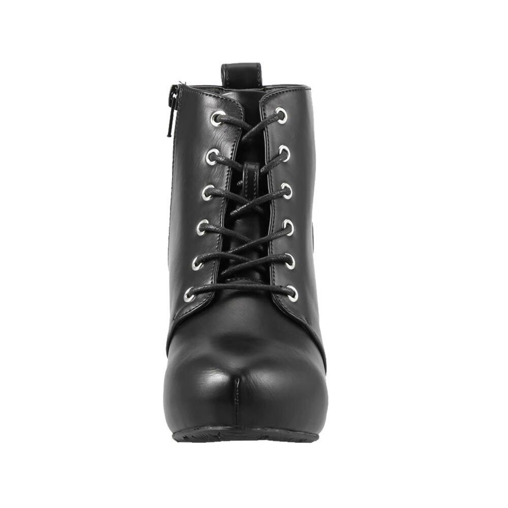 [マラソン期間中ポイント5倍]ジッパー Zipper ブーツ ZP-205 レディース 靴 靴 シューズ 3E相当 ショートブーツ レースアップブーツ 編み上げ ブーツ カジュアル ヒール 美脚 幅広 大きいサイズ対応 25.0cm 25.5cm ブラック SP