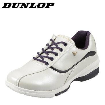 ダンロップ DUNLOP ウォーキングシューズ DW311 レディース 靴 シューズ 4E相当 ウォーキングシューズ ローカットスニーカー レースアップ 軽量 幅広 歩きやすい 小さいサイズ対応 22.5cm ホワイト SP