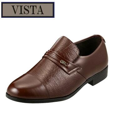 ヴィスタ VISTA ビジネスシューズ 92 メンズ靴 靴 シューズ 4E相当 スリッポン ビジネス ヴァンプ ストレートチップ 幅広 ビジカジ 小さいサイズ対応 24.5cm ダークブラウン SP
