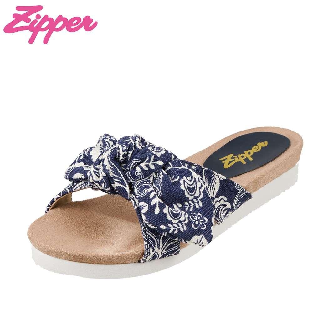 ジッパー Zipper サンダル ZP-3205 レディース靴 靴 シューズ 2E相当 フラットサンダル ぺたんこ ふわふわ やわらかい ハイビスカス バンダナ風 おしゃれ 大きいサイズ対応 25.0cm 25.5cm ネイビー×ホワイト SP