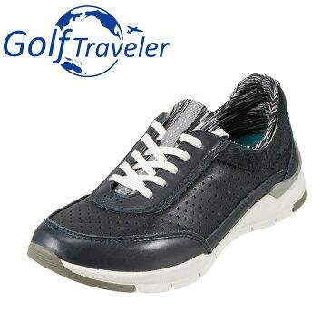 ゴルフトラベラー Golf Traveler スニーカー GFL4423 レディース靴 靴 シューズ 2E相当 ローカットスニーカー 本革 軽量 レースアップ 歩きやすい クッション性 カジュアル ネイビー SP