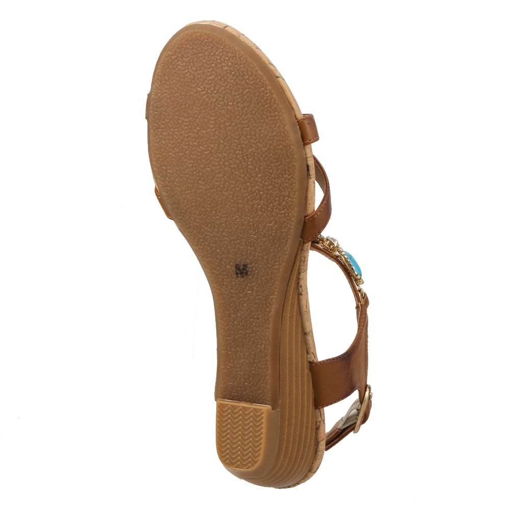 シュッテ Shutte サンダル ST-318 レディース靴 靴 シューズ 2E相当 ウェッジソールサンダル アンクルベルト エスニック アジアン カジュアル おしゃれ 大きいサイズ対応 25.0cm 25.5cm アプリコットキャメル SP