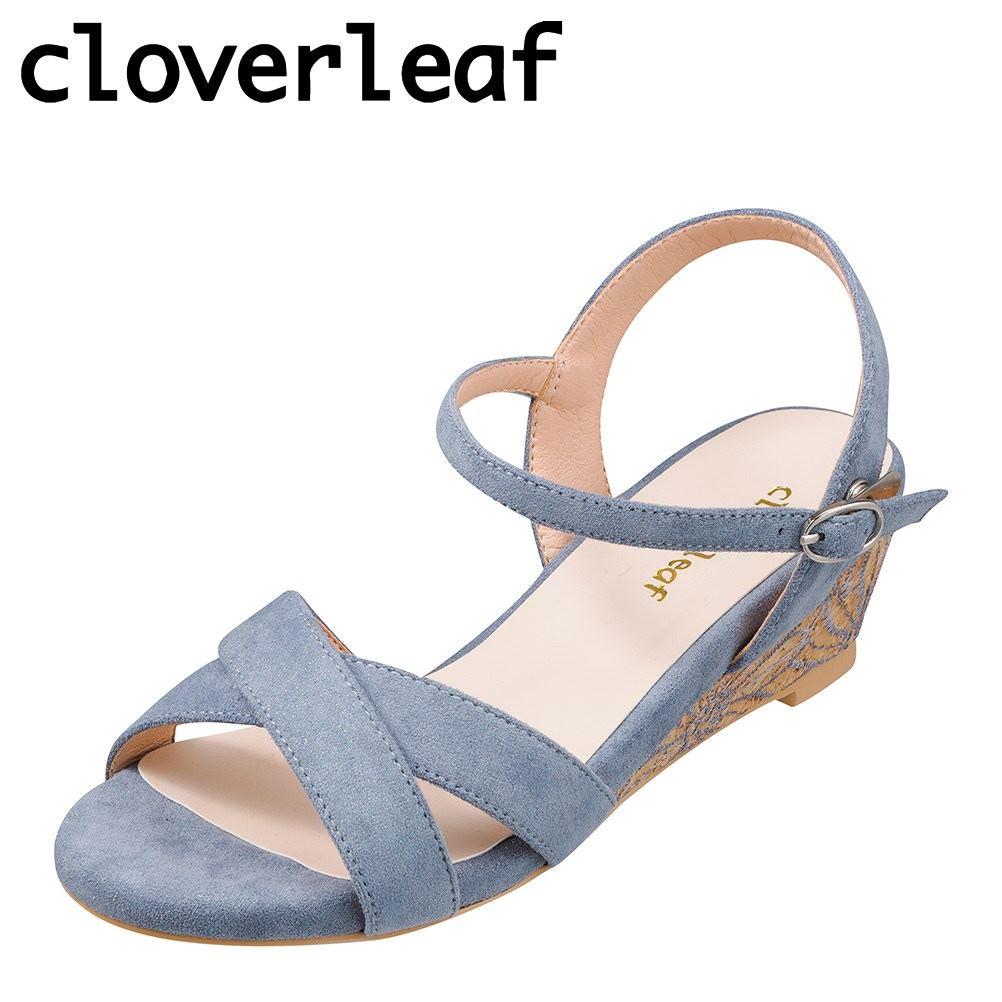 クローバーリーフ cloverleaf CL-1243 レディース靴 靴 シューズ 2E相当 サンダル ウェッジソール 花柄 フラワー ソール ふわふわ インソール ブルー SP