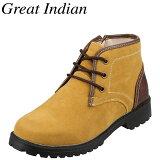 グレートインディアンGreatIndian5458メンズ|カジュアルブーツ|防水ショートブーツ|サイドジップラギットソール|レースアップ|イエロー