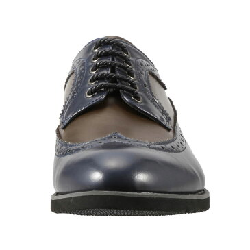 ユーピーレノマ U.P renoma カジュアルシューズ U3623 メンズ靴 靴 シューズ 3E相当 ドレスシューズ ビジカジ 軽量 幅広 外羽根 メダリオン 小さいサイズ対応 24.5cm ネイビー×モスグリーン TSRC