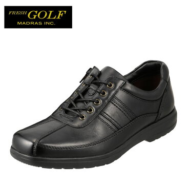 フレッシュゴルフ Fresh Golf コンフォートシューズ FG734 メンズ靴 靴 シューズ 4E相当 カジュアルシューズ 本革 軽量 幅広 ローカット レースアップ 小さいサイズ対応 24.5cm ブラック TSRC
