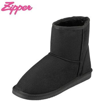 [全商品ポイント5倍]ジッパー Zipper ブーツ ZP-571 レディース靴 靴 シューズ 2E相当 ムートン 風 ブーツ ショートブーツ 幅広 カジュアル フラット 大きいサイズ対応 25.0cm 25.5cm ブラック TSRC