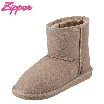 [全商品ポイント5倍]ジッパー Zipper ブーツ ZP-571 レディース靴 靴 シューズ 2E相当 ムートン 風 ブーツ ショートブーツ 幅広 カジュアル フラット 大きいサイズ対応 25.0cm 25.5cm オーク TSRC