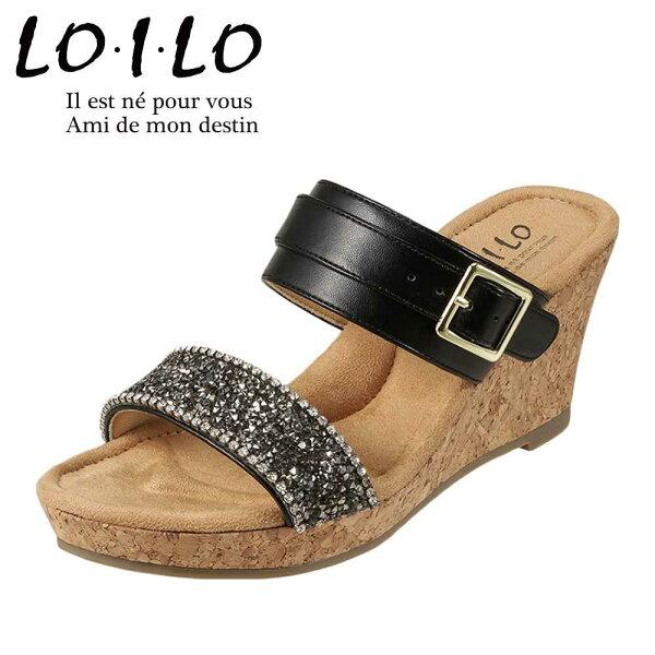 ロイロLO・I・LOサンダル9216レディース靴靴シューズE相当ウェッジソールサンダル軽量ミュールベルトスパンコールおしゃれ大き