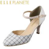 エル プラネット ELLE PLANETE パンプス PTL757A レディース靴 2E相当 セパレートパンプス ギンガムチェック アンクルストラップ 小さいサイズ対応 大きいサイズ対応 ライトブルーテクスチャー TSRC