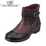 ブイ・アンド・ディー V&D VD4005 レディース靴 3E相当 ブーツ ショートブーツ 防水 雨の日 雪の日 ファスナー付き ツートンカラー ダークブラウン TSRC