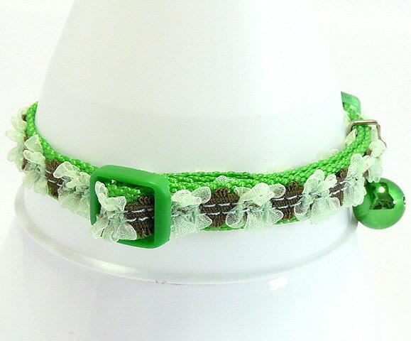 【猫の首輪】バックルタイプ Oh!HALO キャットカラー  フラワーグリーン