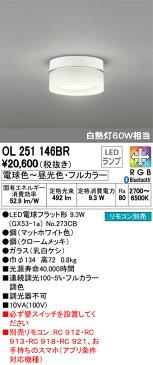 OL251146BR オーデリック 照明器具 CONNECTED LIGHTING LED小型シーリングライト Bluetooth対応 調光・調色タイプ 白熱灯60W相当