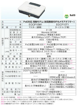 DXデルカテック 高速同軸モデム(EOCPシリーズ)PoE対応 同軸モデム(給電機能付IPカメラアダプター) マスター<親機>EOCP10M1