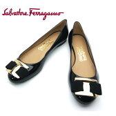 フェラガモ/Salvatore Ferragamo レディース 靴 リボン パンプス フラットシューズ NINNA 0592343 ブラック 【即発送可能】