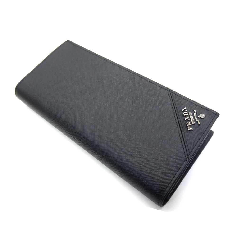 プラダ/PRADA メンズ ファスナー付長財布 サフィアーノトライアングル 2MV836 QME F0002 ブラック【即発送可能】