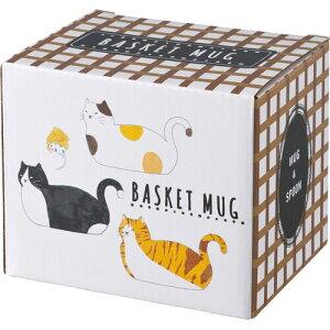 送料無料マグカップバスケッットマグカップ三毛猫トラ猫ねこネコグッズプレゼントギフト可愛いかわいいカワイイ猫雑貨ネコ雑貨ねこ猫