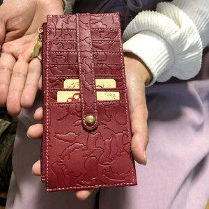 メール便送料無料カードケース14枚収納猫柄スリム財布両面カード入れ合皮ねこ型押しチャーム付きレディース女性猫グッズ猫雑貨ネコグッズネコ雑貨かわいい