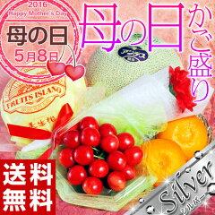 【母の日】《送料無料》『国産フルーツカゴ盛り4種セット シルバー』 ※カーネーション・メッセー…