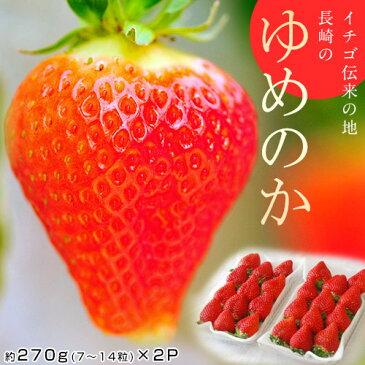 いちご 長崎県産 「ゆめのか」 1パック 約270g(7〜14粒)×2パック 苺 イチゴ 果物 フルーツ ギフト 贈り物 贈答 お返し お祝い お礼 冷蔵