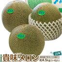 メロン 茨城産『貴味メロン(青肉)』大玉 3〜4玉 約4.5kg 送料無料