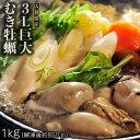 牡蠣 カキ かき 広島県産 ムキ牡蠣 超大粒 3Lサイズ 1kg (解凍後 850g) 加熱用 ...