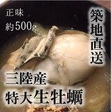 生牡蠣(加熱用)特大サイズ!三陸産 他 牡蠣鍋 正味約500g(約10−15個)[豊洲直送]年末年始 グルメ 鮮魚【namakaki-500g_加熱用牡蠣500g】 冷蔵