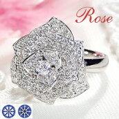 Pt900ダイヤモンド薔薇リング