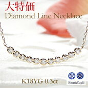 K18YG【0.3ct】H&Cダイヤモンドラインネックレス