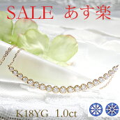 K18YG1.0ctダイヤモンドラインネックレス