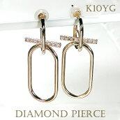 K10YGフープピアスダイヤモンドチェーンピアスペーパークリップ