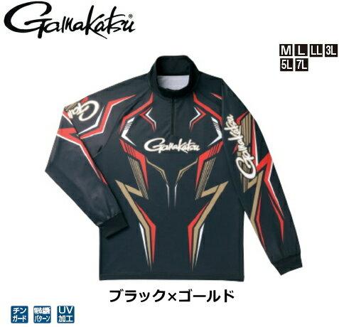 がまかつ 2WAYプリントジップシャツ(長袖) GM-3540 ブラック×ゴールド Mサイズ / ウエア フィッシング 【送料無料】(お取り寄せ商品)