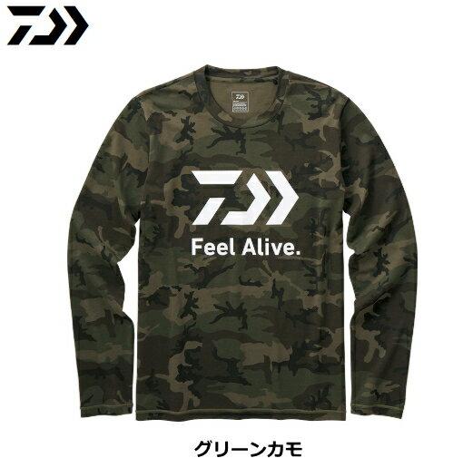 ダイワ ロングスリーブFEEL Alive. Tシャツ DE-82009 グリーンカモ XL(LL)サイズ / ウエア (D01) (O01)
