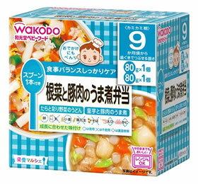 和光堂 栄養マルシェ 根菜と豚肉のうま煮弁当 9か月頃から (80g+80g) たらと彩り野菜のうどん 里芋と豚肉のうま煮 ベビーフード セット