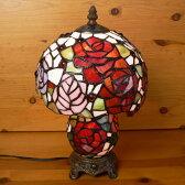【送料無料】ステンドグラスランプ 薔薇の花 (シャルロット) 中型 21×h35 【照明・スタンド】☆