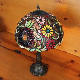 ステンドグラスランプ色鮮やかな小花大型30×h51【照明・スタンド】