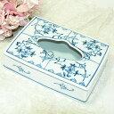 【送料無料】 【一緒に買って送料無料】シンプルなブルー陶器ティッシュペーパーケース<ブルー...