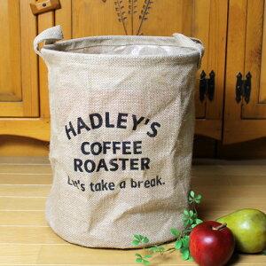 """ジュート ランドリーボックス円柱型 収納ボックス""""HADLEY'S""""<ホワイト・ブラック>30…"""