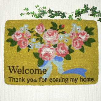 Welcome mat with anti-slip coyer rose Ribbon