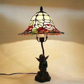 【送料無料】ステンドグラスランプ天使と小鳥のローズランプ大型26×h46【照明/スタンド/薔薇/エンジェル】