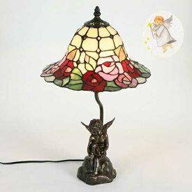 ステンドグラスランプ小鳥と天使W27/H46cm
