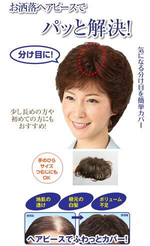 人毛100%快適分け目ヘアピース/女性かつら/ウィッグ