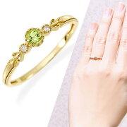 イエローゴールドペリドット・ダイヤモンドリング ダイヤモンド