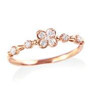 ポイント ピンクゴールドダイヤモンドリング ダイヤモンド
