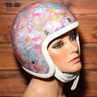 装飾用ヘルメット500-TXクリアシェルリバティーフラワー02スモールジェットヘルメットXS,S,ML,XLXXL