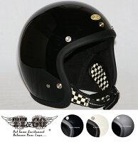 スーパーマグナムダブルストラップ仕様ブラックチェッカースモールジェットヘルメットSG/DOT規格品